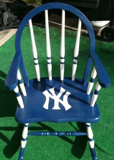 A Dollar Garage Sale Wooden Rocker That I Made Into A Yankee Chair For My  Sonu0027s