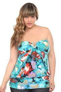 I almost overlooked this beautiful watercolor strapless top, but I did a double take. It was love at...second sight.