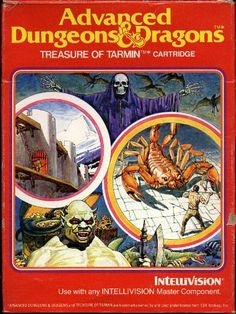 """"""" Advanced Dungeons & Dragons: Treasure of Tarmin (Intellivision, """" The AD&D videogame begins in level 1 of a 256 level dungeon. The man on the box art wears a modern shirt and pants, implying a dimension-crossing backstory. Vintage Video Games, Classic Video Games, Retro Video Games, Vintage Games, Video Game Art, Retro Games, Game Tester Jobs, Pc Engine, Advanced Dungeons And Dragons"""