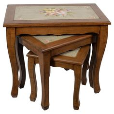 Marvelous set of three wooden #tables in brown color. www.inart.com