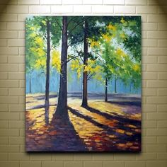 Tree painting with light and shadows. 40 Easy Acrylic Canvas Painting Ideas for Beginners Simple Oil Painting, Acrylic Painting For Beginners, Easy Canvas Painting, Simple Acrylic Paintings, Beginner Painting, Easy Paintings, Acrylic Painting Canvas, Painting & Drawing, Landscape Paintings