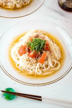 With savory tuna, juicy tomatoes, and umami-rich chilled broth, this delicious Cold Tuna Tomato Somen Noodle is a perfect summer meal that takes just 15 minutes to make it from scratch. Enjoy slurping these chilled noodles on a hot summer day! #tuna #tomato #somen | Easy Japanese Recipes at JustOneCookbook.com Easy Japanese Recipes, Japanese Dishes, Asian Recipes, Ethnic Recipes, Japanese Food, Food Dishes, Main Dishes, Rice Noodle Recipes, Restaurant Recipes