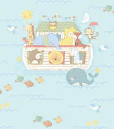 Nursery Fabric-Blue Noahs Ark Placed