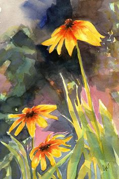 Original floral watercolor painting, Backyard Summer by BlueBirdHill on Etsy