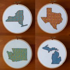Any State Wall Art, Your Choice, Finished and Framed, Completed Cross Stitch, Any Colors, Gift, Sports Team