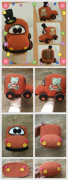 It will take: Yarn Alize Cotton Gold color terracotta 70 gr, brown 25 gr, black - 30 g Crochet Car, Crochet Toys, Fish Patterns, Crochet Patterns, Step By Step Crochet, Crochet Keychain, Free Pattern, Stitch, Knitting