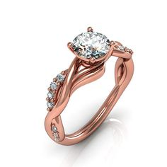 rose gold engagement rings,anniversary ring, style 123RGDM on Etsy, $1,015.00