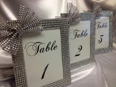 Set of 10- Bling Rhinestone Trimmed Glass Wedding Table number frames with any color bling bow, size 5x7 on Etsy, $77.50