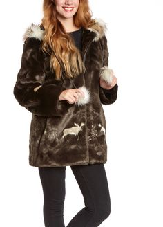 $165, Dark Brown Fur Coat: Brown Faux Fur Coat. Sold by Zulily. Click for more info: https://lookastic.com/women/shop_items/111460/redirect