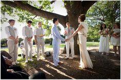Outdoor wedding.  Cute groomsmen.