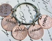 Lucky Penny Key Chain Hand Stamped Words Names Dates Five 5 Pennies 2012 Pennies Available