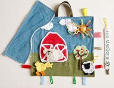 Old McDonald Handmade Baby Sensory Ribbon, Lovey, Taggie Blanket + Burp Cloth #OhSoKnotty