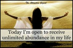 Today I'm open to receiving unlimited abundance in my life Positive Mindset, Positive Thoughts, Positive Life, Deep Thoughts, Love Life, My Life, Louise Hay Quotes, General Quotes, Motivational Quotes