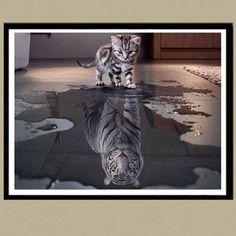 5D DIY Cat Tiger Diamond Painting Embroidery Cross Stitch Kits Mosaic Home Decor #Affiliate