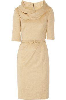 Beautifully tailored yet feminine wool-blend dress.  I LOVE the petal collar!