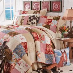 Girls Western Bedding, Cowgirl Bedding and Western Bedroom Decor Cowgirl Bedroom, Western Bedroom Decor, Western Rooms, Western Bedding, Western Decor, Western Crafts, Horse Bedding, Quilt Bedding, Bedding Sets
