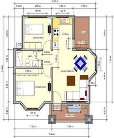 plano de casa de 72 m2 un piso 2 dormitorios