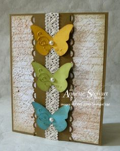 Annette's lovely vintage style card features En Français, Beautiful Wings embosslit, & Crochet Trim.
