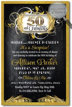 15 best 50th birthday invitation ideas images on pinterest custom forty and fabulous birthday invitations expertly printed on gorgeous metallic paper and artfully hand mounted onto beautiful silver card stock filmwisefo