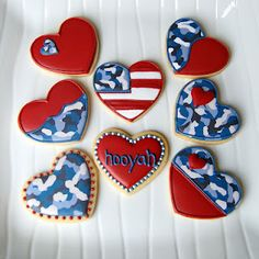 Fourth of July cookies maybe? Camo Cookies, Heart Cookies, Iced Cookies, Royal Icing Cookies, Sugar Cookies, Blue Cookies, Valentine Cookies, Valentines, Cookie Designs