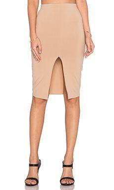 Donna Mizani Front Slit Midi Skirt in Camel