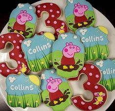 Your place to buy and sell all things handmade Pig Cookies, Sugar Cookies, Peppa Pig Cookie, Pig Party, Birthday Cookies, Royal Icing Cookies, Third Birthday, Cookie Designs, Childrens Party