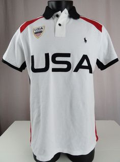 NWT Polo Ralph Lauren L Mens Polo Shirt USA Crest Country White Black Red Custom #PoloRalphLauren #PoloRugby