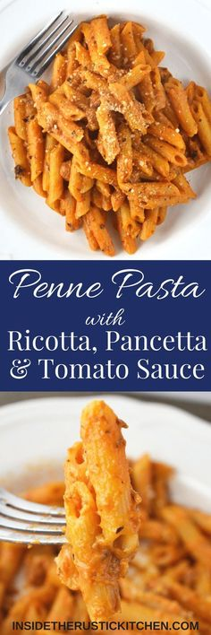 This Penne Pasta with Ricotta, Pancetta and Tomato Sauce is a current favourite of mine that I just cannot get enough of. It's super tasty and incredibly easy to make.www.insideth...
