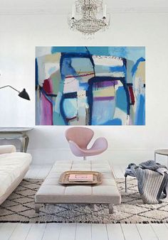 Perhaps a blue and pink large abstract painting can be a I masculine interior design?   abstract contemporary art painting by Danielle Nelisse