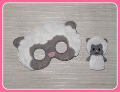 Sheep Mask and Finger Puppet Set - Farm Animal Mask - Felt Dress Up Masks - Birthday Halloween Party Favor - Kid's Children's Child Mask