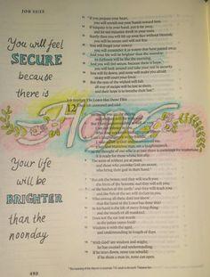 Hope in Job -Bible art journaling by @peggythibodeau www.peggyart.com