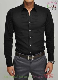 mens shirt Casual New Hot Mens Shirt Casual Chest irregular folds Slim Sexy Dress Fashion Shirts SH30