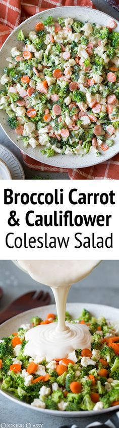 The ultimate crunch salad with a refreshing homemade coleslaw dressing. This is the perfect side dish to pulled chicken or pulled pork sandwiches or your favorite grilled chicken. It's easy to throw together and everyone will love these simple satisfying flavors.