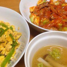 ⚫︎ピーマン、卵、ツナの麺つゆ炒め ⚫︎アボカド入り烏賊坦々 ⚫︎しめじ、ロマネスコの味噌汁 - 10件のもぐもぐ - 2015.02.19 by amagishinjyu