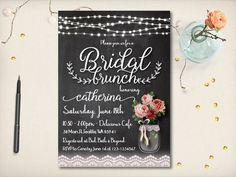 Rustic Bridal Shower Invitation Cute Mason by VintageBellsAndCo
