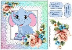 Cute little elephant with roses on lace 8x8 on Craftsuprint - View Now!