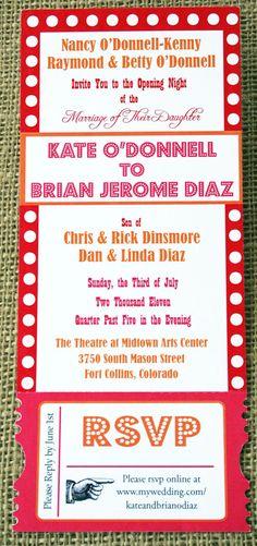 Theater, Movie, Broadway Wedding Invitation Ticket, Vintage and Modern: SAMPLE. $3.75, via Etsy.