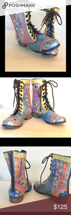 Steve Madden Painted Boots 8- 8-1/2 Painted by me, Steve Madden Combat boots. One of a kind design. Whimsical. Paint is water and abrasion resistant and coated with a leather sealer. Fits 8 to 8-1/2 size. EUC Steve Madden Shoes Combat & Moto Boots