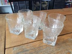 6 Mid Century Libbey St. Regis Textured Square Rock Old Fashioned Cocktail Glass | eBay