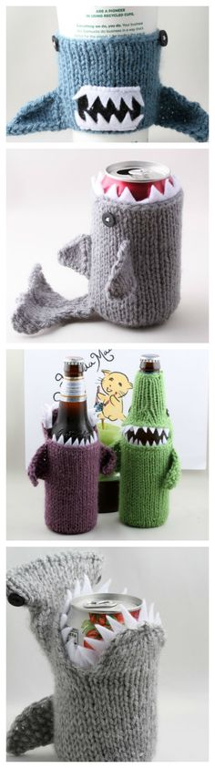 Shark Week! Knitted shark cozies for beer bottles, water bottles, cans, coffee cups, or baby bottles.