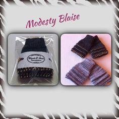 Wristwarmers in Thin Alpaca with pearls. Model Modesty Blaise.