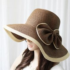 Exaggerated Bicolor Bowknot Embellished Women's Broad Brim Straw Cap, COLOR ASSORTED, ONE SIZE in Hats | DressLily.com