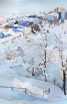 Winter Cityscape Art Portfolio, Paintings, Illustrations, Watercolor, Fine Art, Winter, Pen And Wash, Winter Time, Watercolor Painting