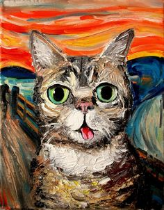 """Spangles owner, ~shyromancee requested I paint her adorable cross-eyed kitty after seeing my Vincent van No piece. Here he is, conquering another van Gogh masterpiece, """"Night Rhone"""". Please see Spa..."""