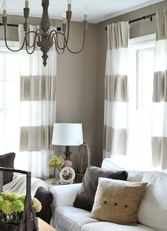 Similar to our striped curtains. Horizontal striped curtains (instead of vertical blinds in family room) New Living Room, Home And Living, Living Room Decor, Dining Room, Horizontal Striped Curtains, Stripe Curtains, Painted Curtains, Turquoise Curtains, Blinds Curtains