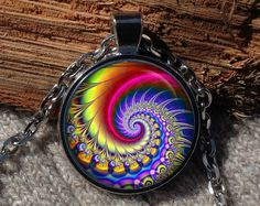 Rainbow fractal pendant Fractal necklace Fractal jewelry by Aranji