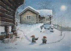 To nisser med grøtbolle, Dagali  (Two gnomes with porrige) - Kjell Midthun