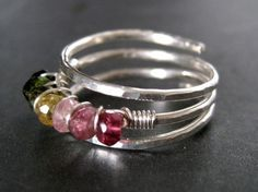 Beaded ring  This would be an awesome mother's ring with the birthstone colors of the kids!