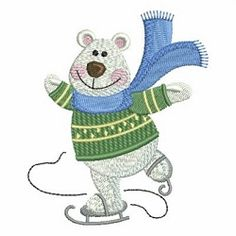 Christmas Polar Bear 2, 1 - 4x4   Christmas   Machine Embroidery Designs   SWAKembroidery.com Ace Points Embroidery