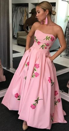 unique pink long prom dresses with pocket, sweetehart a line prom party dress with embroidery, elegant evening gowns for women , formal dress for teens , #prom